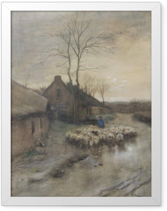 Plakat w ramie Anton Mauve - Pasterz z owcami w 't Gooi - Reproductions