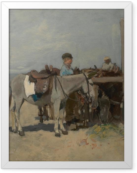 Gerahmtes Poster Anton Mauve - Stand für Esel am Strand in Scheveningen - Reproductions