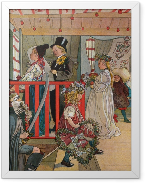 Gerahmtes Poster Carl Larsson - Namenstag im Schuppen - Reproductions
