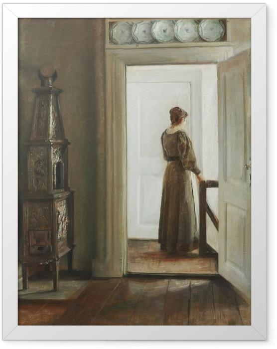 Plakat w ramie Carl Vilhelm Holsøe - Wnętrze z kobietą - Reproductions