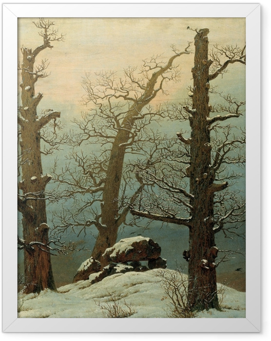 Gerahmtes Poster Caspar David Friedrich - Hühnengrab im Schnee - Reproductions