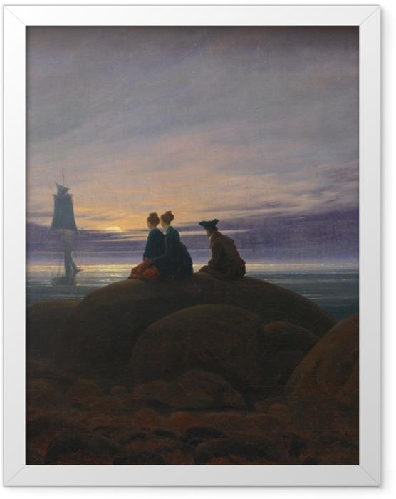 Gerahmtes Poster Caspar David Friedrich - Mondaufgang am Meer - Reproductions