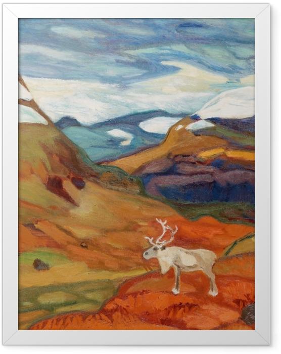 Plakat w ramie Helmer Osslund - Jesienny pejzaż z reniferem - Reproductions