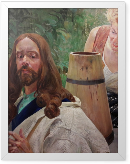 Gerahmtes Poster Jacek Malczewski - Christus und die Samariterin - Reproductions