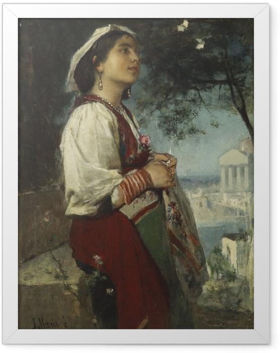 Plakat w ramie Jacob Maris - Młoda Włoszka z motylami - Reproductions