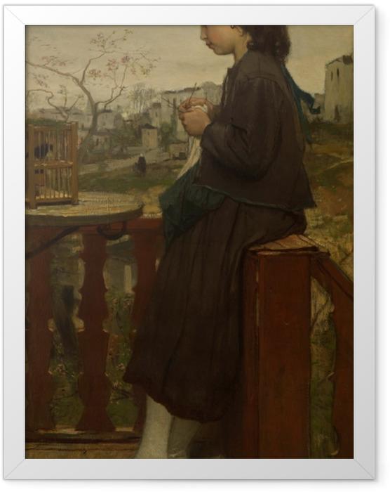Gerahmtes Poster Jacob Maris - Mädchen, das auf einem Balkon in Montmartre strickt - Reproductions