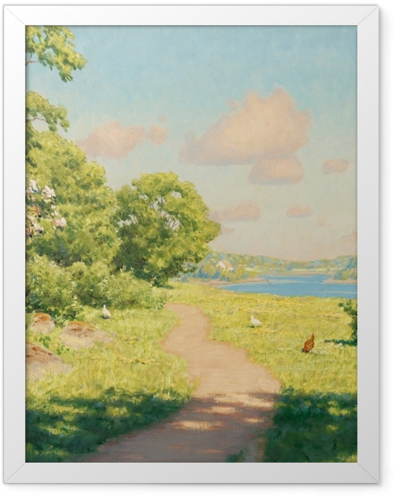 Gerahmtes Poster Johan Krouthén - Landschaft mit Hühnern - Reproductions