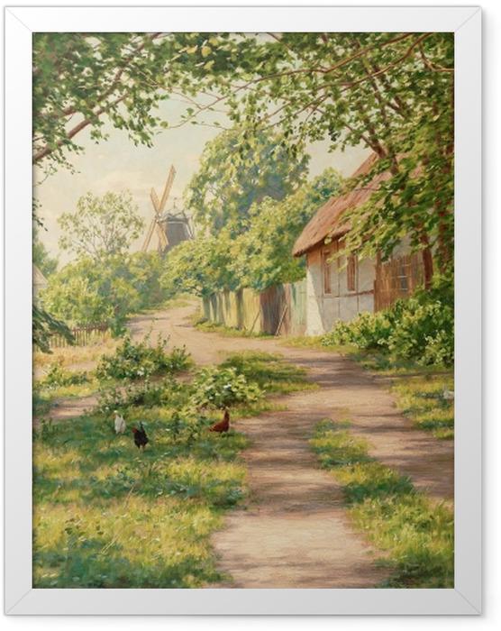 Plakat w ramie Johan Krouthén - Letni pejzaż w wiatrakiem - Reproductions