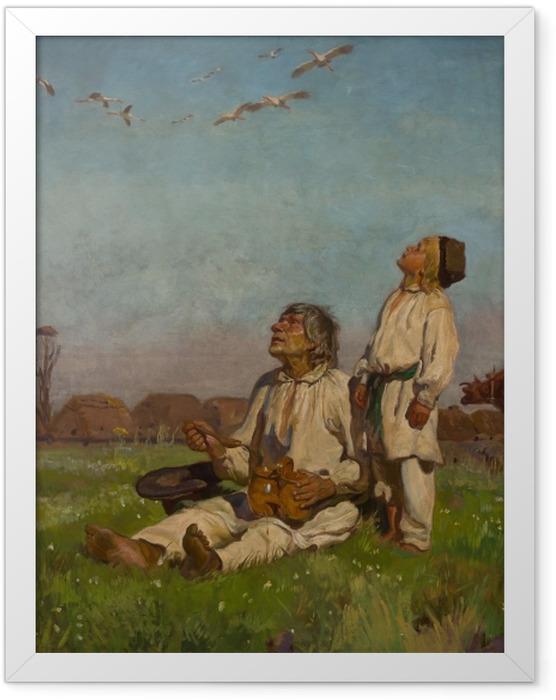 Gerahmtes Poster Józef Chełmoński - Storche - Reproductions