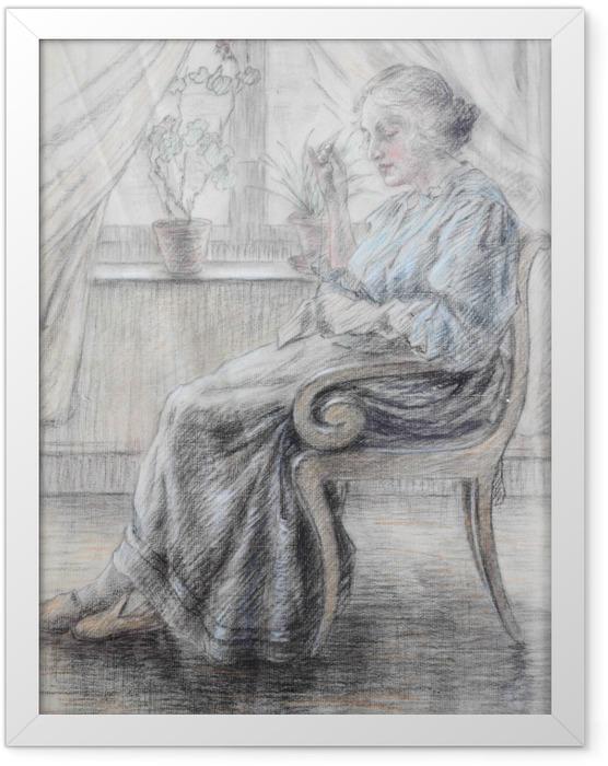 Plakat w ramie Leo Gestel - Kobieta z robótką - Reproductions
