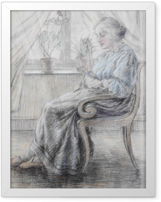 Poster en cadre Leo Gestel - Femme tricot - Reproductions