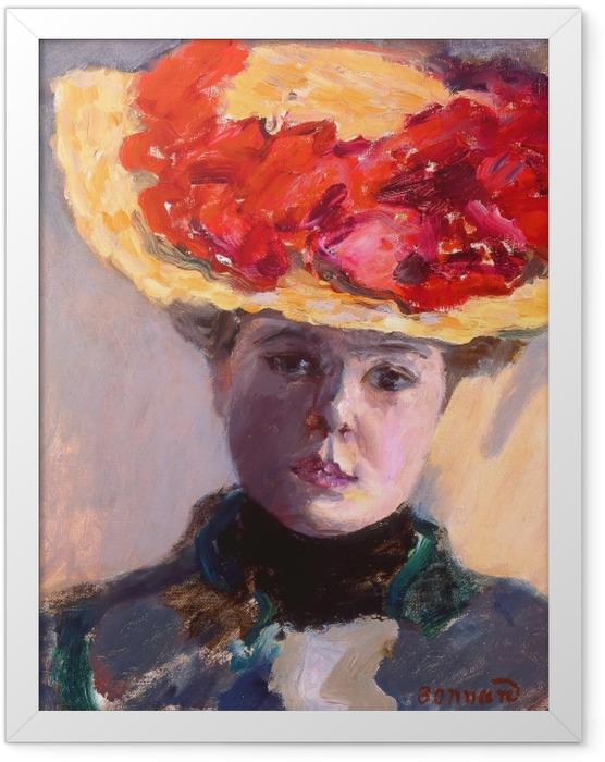 Plakat w ramie Pierre Bonnard - Dziewczyna w słomkowym kapeluszu - Reproductions