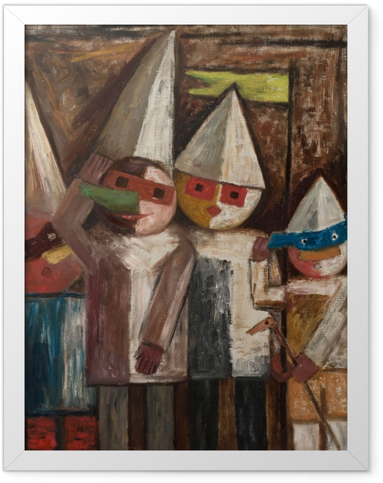 Poster en cadre Tadeusz Makowski - Carnaval des enfants avec un drapeau - Reproductions