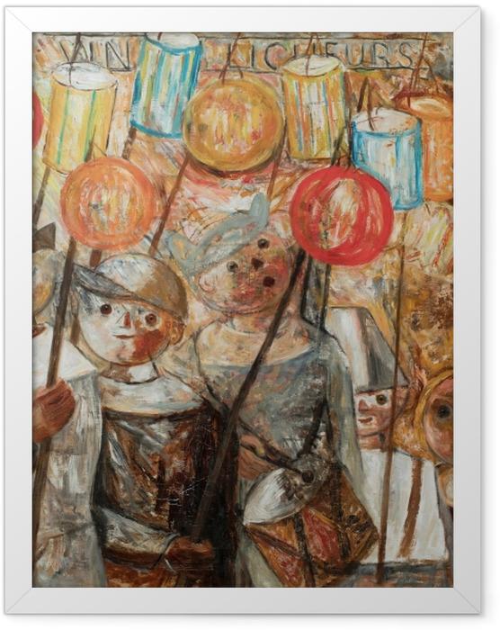 Poster en cadre Tadeusz Makowski - Enfants avec des torches - Reproductions