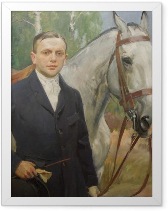 Gerahmtes Poster Wojciech Kossak - Porträt von Bronisław Krystall mit einem Pferd - Reproductions