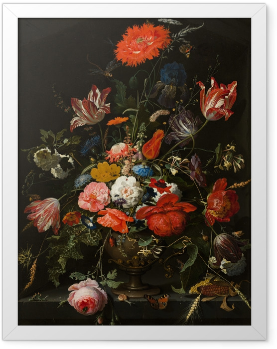 Plakat w ramie Abraham Mignon - Flowers in a Metal Vase - Reprodukcje