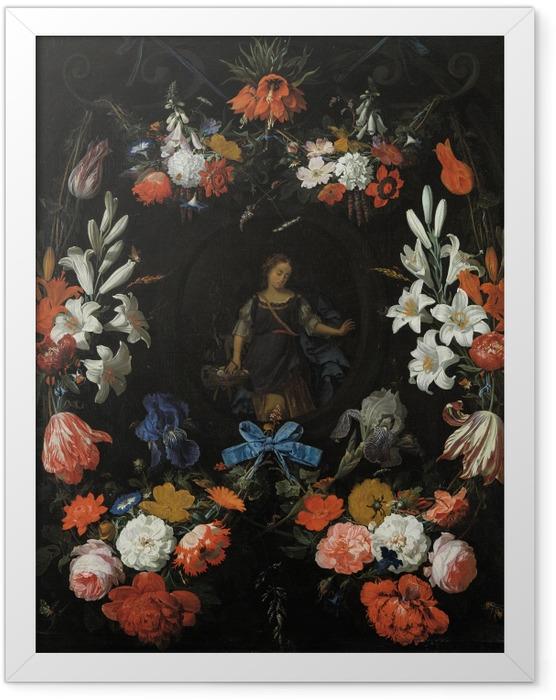 Plakat w ramie Abraham Mignon - Garland of Flowers - Reprodukcje