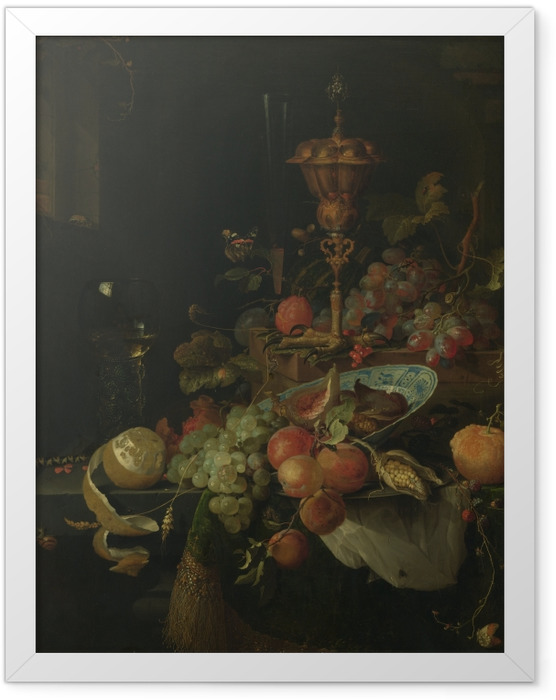 Gerahmtes Poster Abraham Mignon - Still life with fruit and a bowl on a roosters leg - Reproduktion