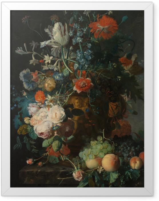 Gerahmtes Poster Jan van Huysum - Still life with flowers - Reproduktion
