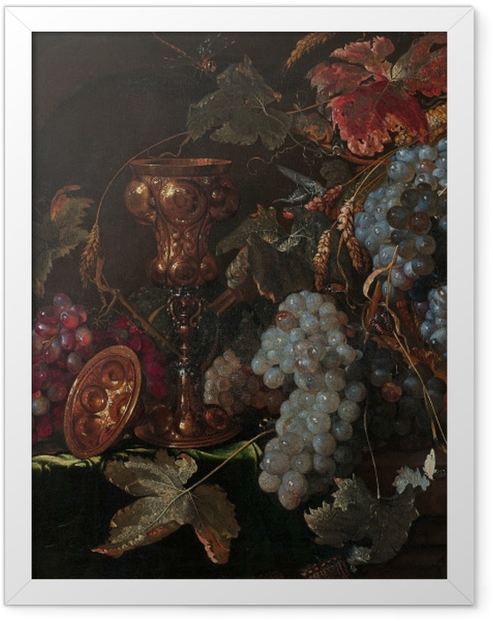 Poster en cadre Abraham Mignon - Grape and silverware cup on an entablature - Reproductions