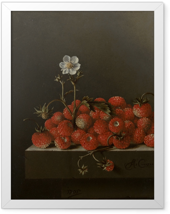 Gerahmtes Poster Adriaen Coorte - Still Life with Wild Strawberries - Reproduktion