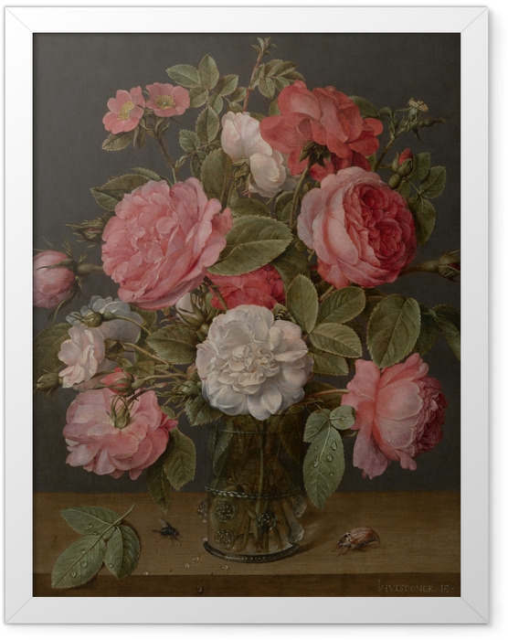 Poster en cadre Jacob van Hulsdonck - Roses in a Glass Vase - Reproductions