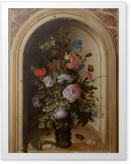 Poster en cadre Roelant Savery - Vase with Flowers in a Stone Niche - Reproductions
