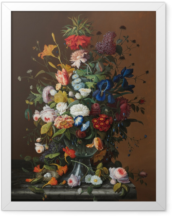 Gerahmtes Poster Severin Roesen - Flower Still Life with Bird's Nest - Reproduktion