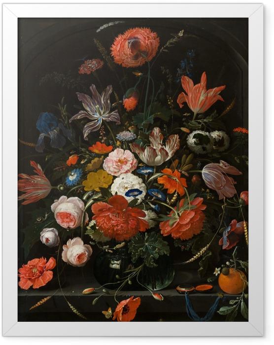 Plakat w ramie Abraham Mignon - Flowers in a Glass Vase - Reprodukcje