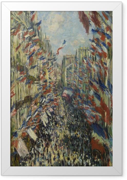 Gerahmtes Poster Claude Monet - Die Rue Montorgueil in Paris. Das Fest des 30. Juni 1878 - Reproduktion