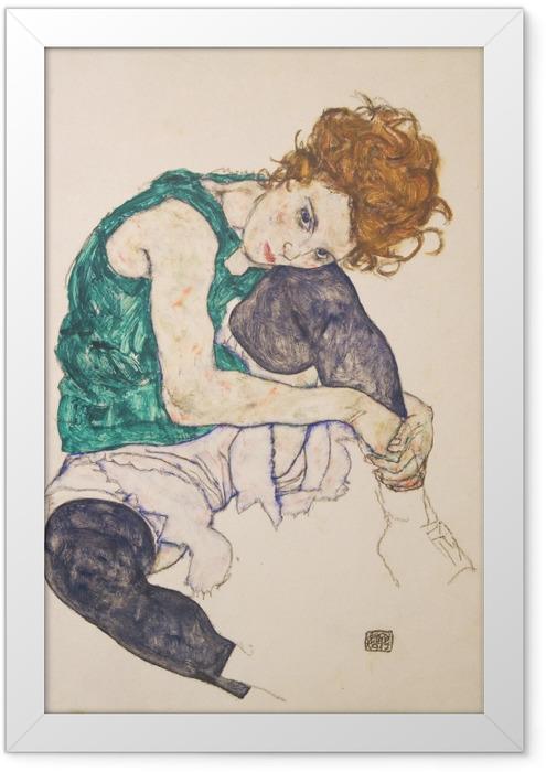 Poster en cadre Egon Schiele - Femme assise genoux plié - Reproductions