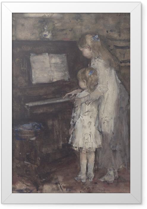 Gerahmtes Poster Jacob Maris - Jacob Maris Töchter am Klavier - Reproductions