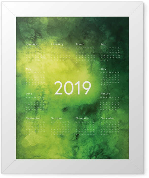 Calendar 2019 - green rules Framed Poster - Calendars 2019