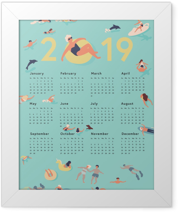 Calendar 2019 - summer time Framed Poster - Calendars 2019