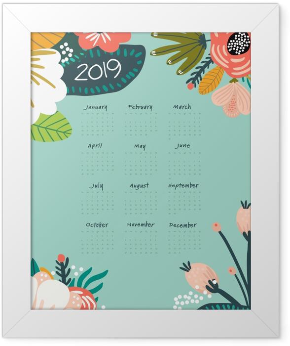 Calendar 2019 - turquoise and flowers Framed Poster - Calendars 2019
