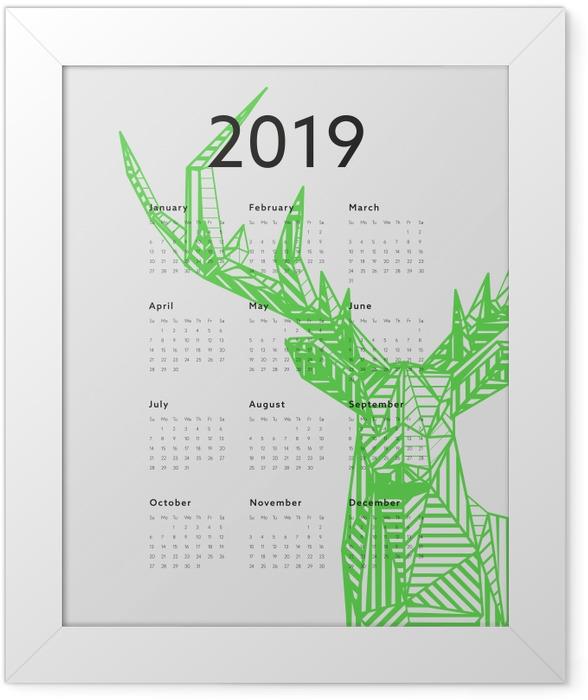 Calendar 2019 – Green deer Framed Poster - Calendars 2019