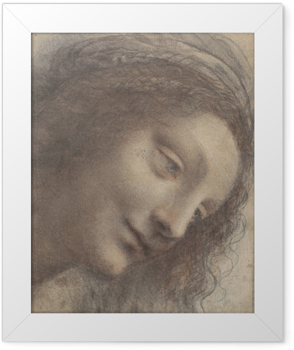 Gerahmtes Poster Leonardo da Vinci - Kopf einer Frau - Reproduktion