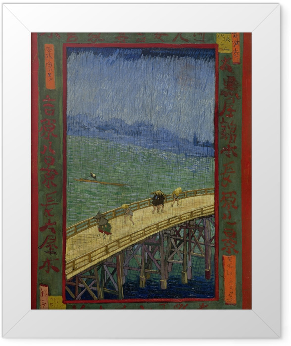 Vincent van Gogh - The bridge in Regen Framed Poster - Reproductions