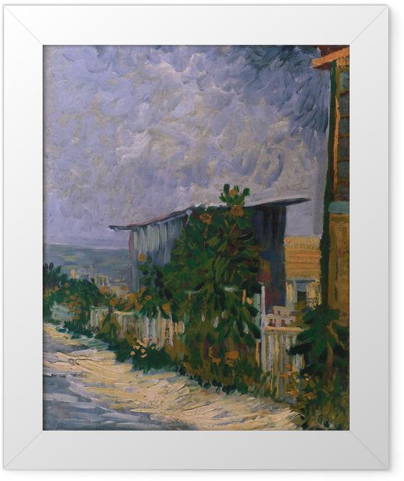 Gerahmtes Poster Vincent van Gogh - Schuppen am Montmartre mit Sonnonblume - Reproductions