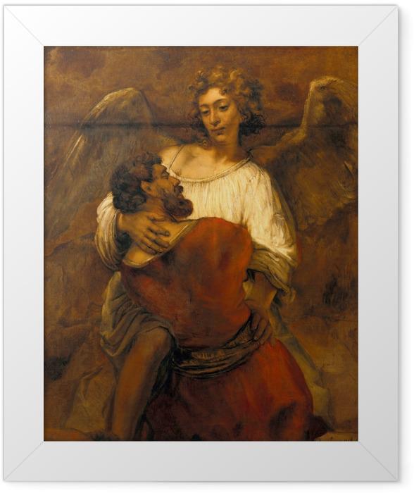 Gerahmtes Poster Rembrandt - Jakob ringt mit dem Engel - Reproduktion