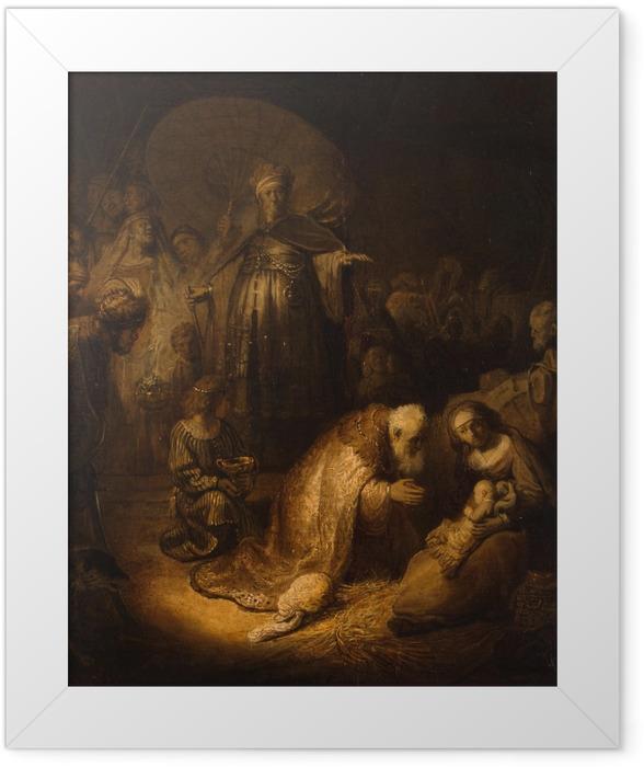 Plakat w ramie Rembrandt - Pokłon Trzech króli - Reprodukcje
