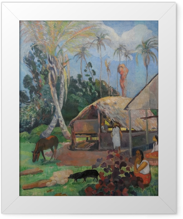 Poster en cadre Paul Gauguin - Les cochons noirs - Reproductions