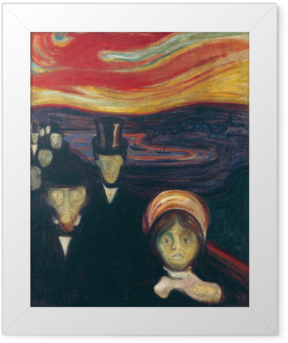 Gerahmtes Poster Edvard Munch - Angst - Reproduktion