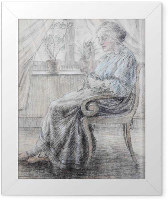 Gerahmtes Poster Leo Gestel - Strickende Frau - Reproductions
