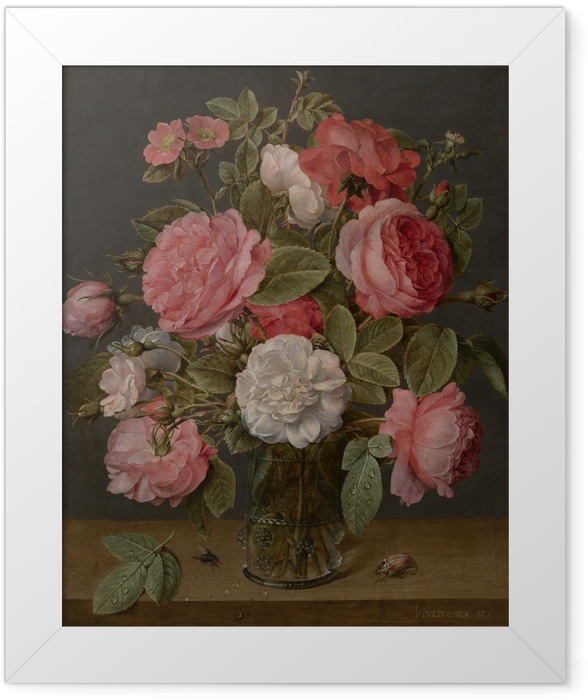 Poster en cadre Jacob van Hulsdonck - Roses in a Glass Vase - Reproductions
