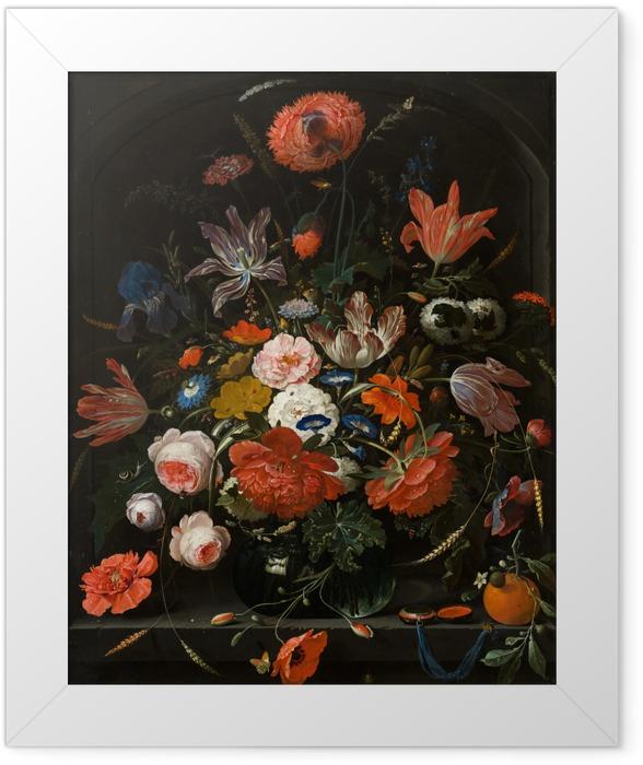 Gerahmtes Poster Abraham Mignon - Flowers in a Glass Vase - Reproduktion