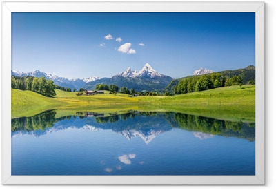 Póster com Moldura Idyllic summer landscape with mountain lake and Alps