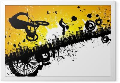Ingelijste Poster BMX-rijders in een stad achtergrond