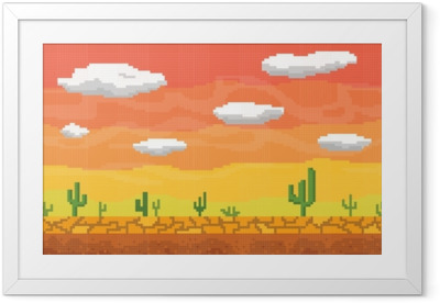 Ingelijste Poster Pixel kunst woestijn naadloze achtergrond.