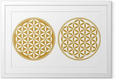 Ingelijste Poster Flower of Life - symbool van bescherming, Heilige Geometrie